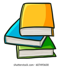 Pile of books for study in cartoon style - vector.