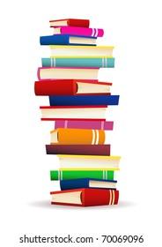 Pile of books vector illustration