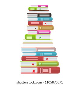 Pile of books vector illustration. Icon stack of books with solid color and flat style.