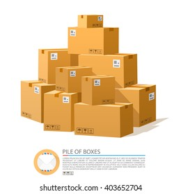 A pile of boxes. Cardboard brown vector. Vector illustration