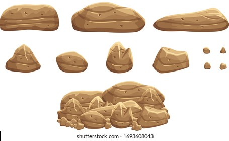 A pile of brown rock stones for games props. Brown Boulders for game props. Game background objects. Illustration of cartoon style rock stones or boulders.