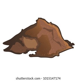 A pile of brown substrate isolated on white background. Vector cartoon close-up illustration.