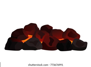 a pile of burning coal. flat vector illustration isolated on white background