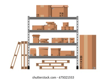 Pile cardboard boxes on warhouse shelves. Carton delivery packaging open and closed box with fragile signs. Vector illustration in flat style