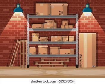 Pile cardboard boxes on warhouse shelves. Carton delivery packaging open and closed box with fragile signs. Brick wall and lamp. Vector illustration in flat style