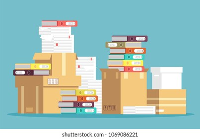 Pile of cardboard boxes, paper documents and office file folders isolated. Unorganized messy papers, paperwork vector concept. File stack, pile of paper document illustration