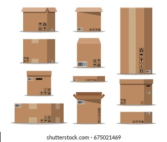 Pile cardboard boxes set. Carton delivery packaging open and closed box with fragile signs. Vector illustration in flat style