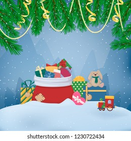 Pile of cartoon gift boxes with bows and ribbons, full Santas bag, toy. Fir branch, garland, serpentine. Sack full of colourfull present. Vector illustration