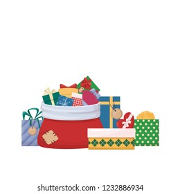 Pile of cartoon gift boxes with bows and ribbons, Santa Claus bag. Sack full of colourfull present. Vector illustration