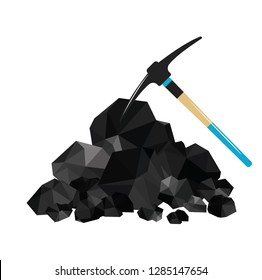 Pile of charcoal, graphite coal,lump of coal with pickaxe 4