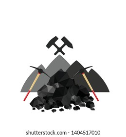 Pile of charcoal, graphite coal,lump of coal with pickaxe