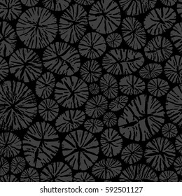 Pile of charcoal. Round organic shape elements. Realistic cracked wood texture background. Ecology concept. Seamless pattern. Vector illustration for modern design