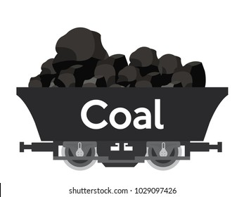Pile of charcoal,Coal Mine Wagon with Coal text