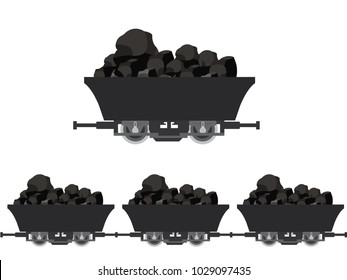 Pile of charcoal,Coal Mine Wagons