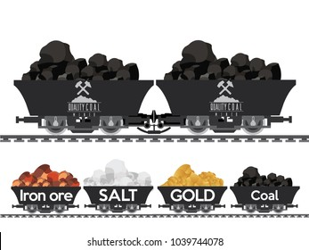 Pile of charcoal,Coal Mine,gold,iron ore,salt Wagon