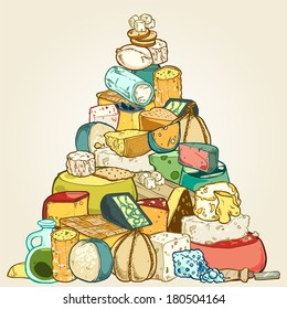 Pile of cheese in pyramid shape
