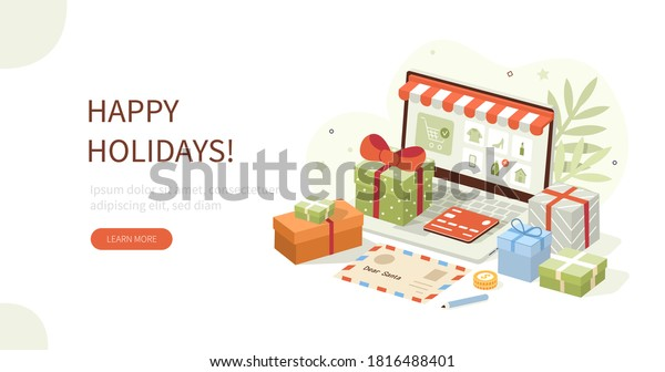 Pile Christmas Gift Boxes Standing on Desk. Laptop Screen Showing Online Shop with Different Products and Holiday Presents. Online Christmas Shopping Concept. Flat Cartoon Vector Illustration.