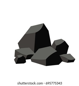 Pile of coal. Vector image isolated on white background