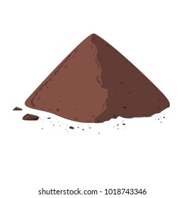 Pile of Cocoa Powder. Cacao isolated on white background. Vector illustration flat design