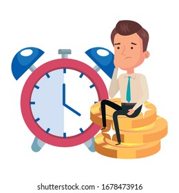 pile coins with businessman and alarm clock vector illustration design