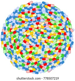 Pile of colored drugs capsules circle background vector illustration