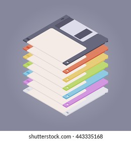 Pile of the colored floppy disks, diskettes against the purple background. 3D isometric flat vector concept illustration