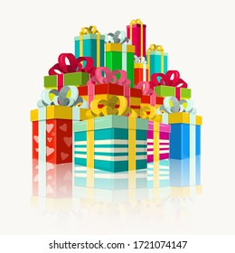 Pile of Colorful Gift Boxes Vector.  Present Box Symbols.