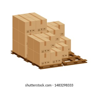 pile crate boxes 3d on wooden pallet isolated on white background