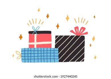 Pile of different gift boxes for holiday. Stack of wrapped presents decorated with bows and various patterns. Colored flat vector illustration of festive packages isolated on white background