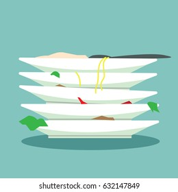 pile of dirty dishes-vector