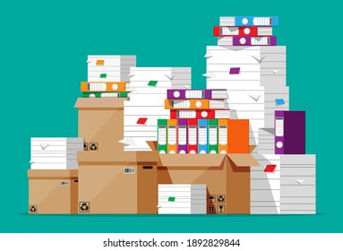 Pile of file folders, cardboard boxes and paper documents. Paperwork or bureaucracy concept. Unorganized messy papers stacks, office routine. Cartoon flat vector illustration isolated