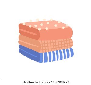 Pile of folded clothes flat vector illustration. Knitted woolen garment. Striped and checkered apparel. Packed outfit elements with pompons. Warm winter clothing on white background.