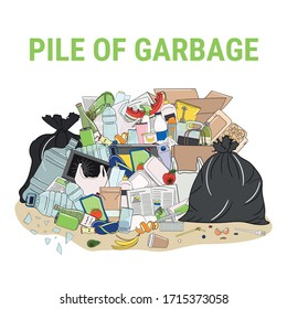 Pile of garbage and overflowing rubbish, food, metal, plastic, paper, glass, mixed trash. Waste management. Garbage pollution. Hand drawn vector illustration.