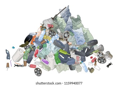 Pile of garbage, trash bags and rake. The concept of ecology and World Cleanup Day.