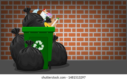 pile of garbage waste and bag plastic at green recycle bin on brick wall, plastic garbage waste many, plastic waste dump and bin green, illustration stack plastic waste and bin separation recycle