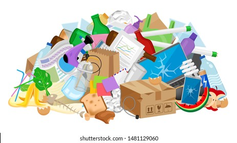 pile garbage waste plastic many isolated white, stack garbage plastic and paper many dump, different types waste (organic, plastic, glass, metal, paper and electronic e-waste), pollution garbage waste