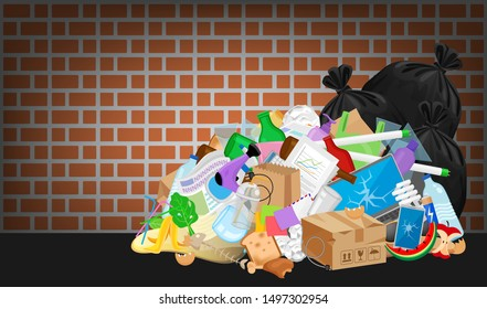 pile garbage waste plastic many at brick wall, stack garbage plastic and paper many dump, different types waste (organic, plastic, glass, metal, paper and electronic e-waste), pollution garbage waste