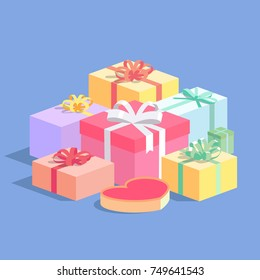 Pile of gift boxes. Isometric vector illustration