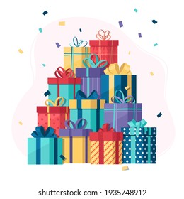 Pile of gifts with confetti, vector illustration