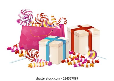 A pile of gifts for the holiday. Boxes with gifts bag with candy, sweets, candy, birthday, Christmas.