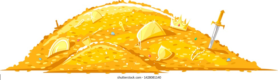 Pile of gold coins and different treasures, big bright treasure of gold coins illustration on white background, wealth concept
