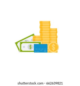 Pile of golden coins, card, card, dollar. Flat style vector illustration.