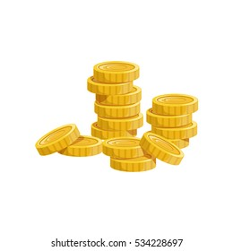 Pile Of Golden Coins, Hidden Treasure And Riches For Reward.  Game Design Variation