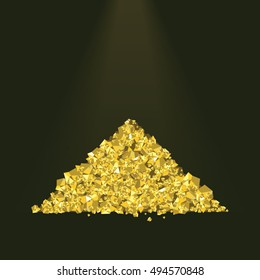 Pile of golden sand. Yellow metal. Gold mining and jewelry concept. Vector illustration