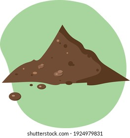 Pile heap of eco soil, peat, hummus for potting and farm planting. Vector illustration isolate on white background. Organic field cultivation.