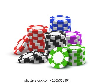 Pile or heap for realistic casino chips. 3d pile or stack of poker money. Tower made of green and blue, red and black, violet gambling club cash. Internet casino poster.Money and gamble, betting theme