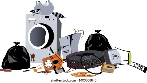 Pile of household garbage, including a broken washing machine and a dead raccoon, EPS 8 vector illustration
