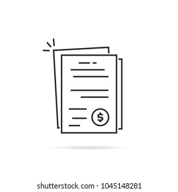 pile of linear invoice or bill documents. flat thin line trend modern contour accounting logotype graphic stroke art simple design isolated on white. concept of dollar banking statement or voucher