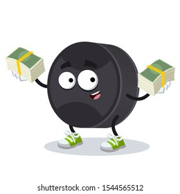 with a pile of money cartoon black rubber hockey puck character mascot on white background