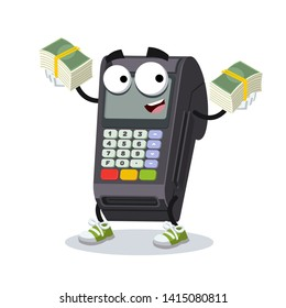 with a pile of money cartoon EDC card swipe machine character mascot on white background